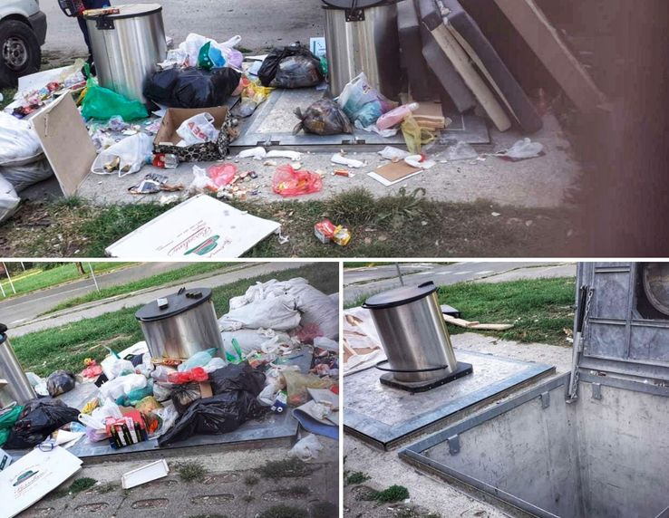 "Otpad se  odlaže  pored kontejnera  foto: JKP ""Čistoća"