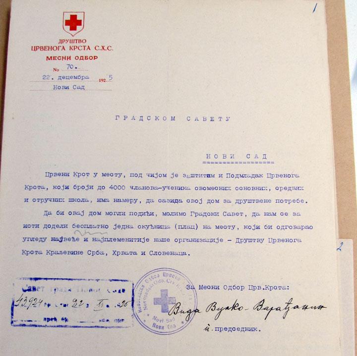 Историјски архив града, ЦК НС/Молба Савету града