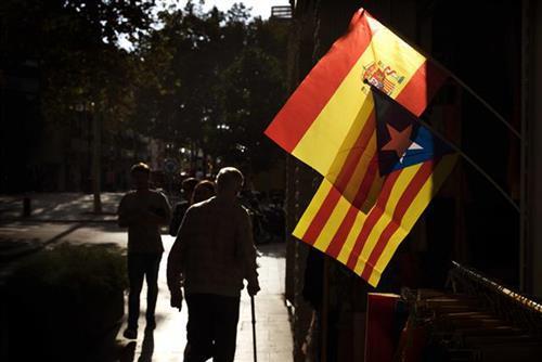 Španija, Katalonija, zastave  Foto: AP Photo/Emilio Morenatti