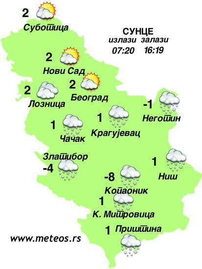 Vremenska prognoza za 14.decembar Foto: Dnevnik.rs/meteos.rs