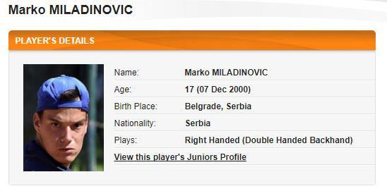 Marko Miladinovic/ITF printskrin
