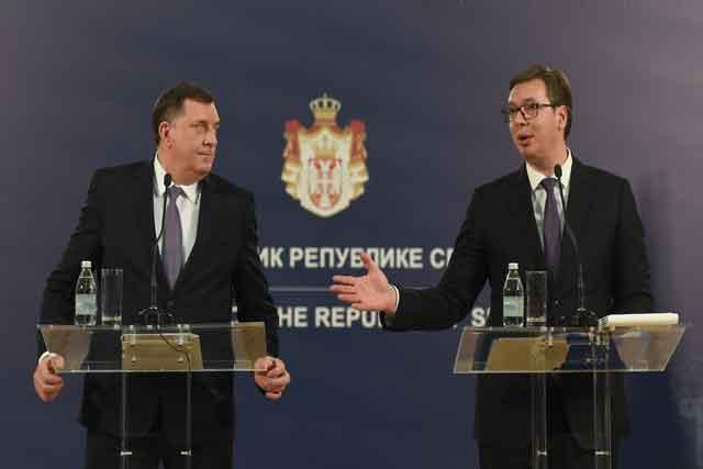 Dodik i Vučić, pres konferencija  Foto: Tanjug