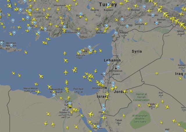 Letovi u istočnom Sredozemlju Foto: flightradar24.com/printscreen