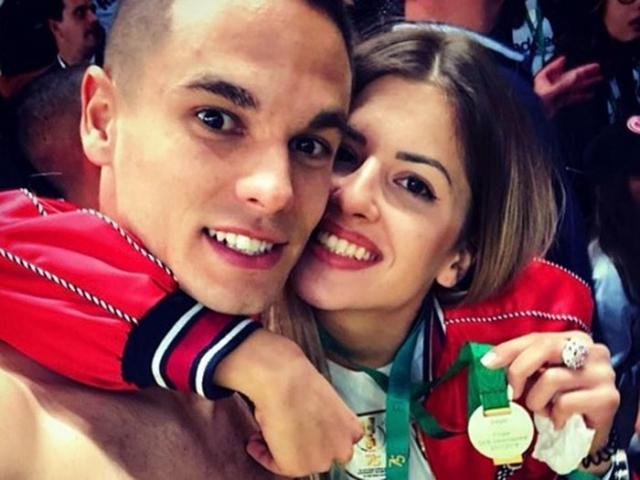Mijat Gacinovic i Vedrana Bovan sa zlatnom medaljom Kupa Nemacke/Instagram