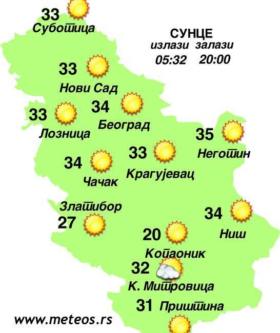 Vremenska prognoza Foto: meteos.rs/dnevnik.rs