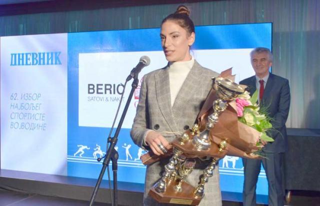 """Ivana Španović """"Dnevnikov"""" laureat na 62. izboru za najboljeg sportistu AP Vojvodina  Foto: S. Šušnjević"""