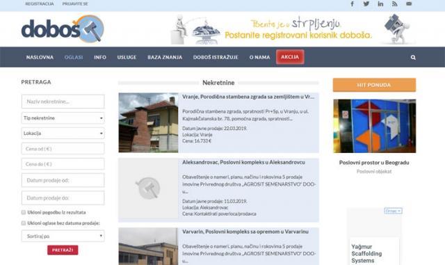 Naslovnica sajta Doboš Foto: printskrin