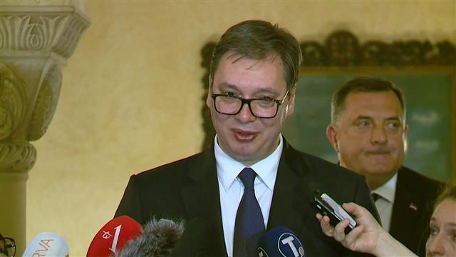 Predsednik Srbije Aleksandar Vučić nakon sednice Sabora SPC Foto: Tanjug/video