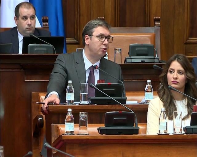 Vučić u Skupštini Srbije Foto: Tanjug/video