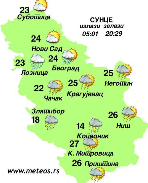 Vremenska prognoza Foto: Dnevnik.rs/meteos.rs