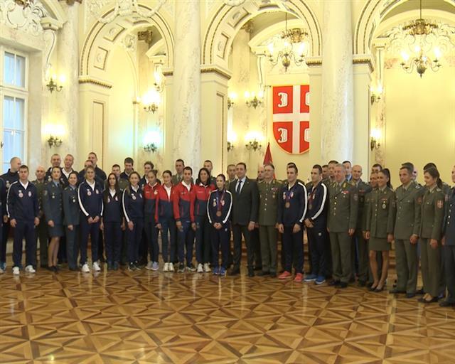Ministar odbrane Aleksandar priredio prijem za reprezentativce Vojske Srbije učesnike na 7. CISM Foto: Tanjug/video