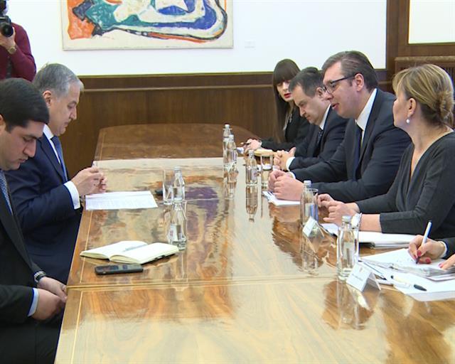 Aleksandar Vučić primio je ministra spoljnih poslova Republike Tadžikistan Sirodžidina Muhridina Foto: Tanjug/video