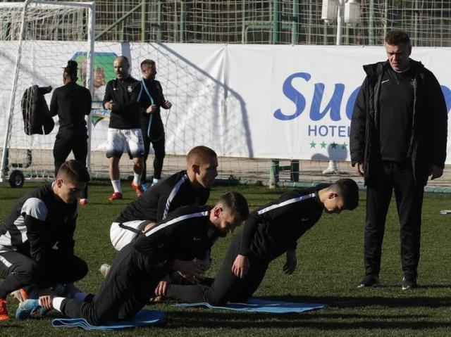 Fudbaleri Partizana na jučerašnjem treningu Foto: FK Partizan