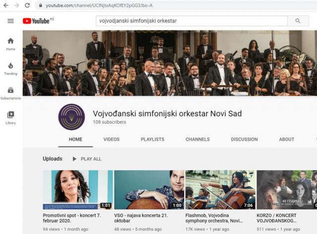 Vojvođanski simfonijski orkestar na Jutjubu  Foto:prinskrin