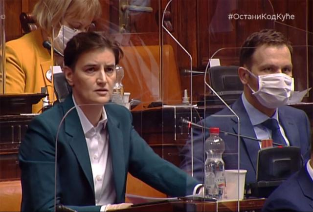 Premijerka Ana Brnabić u Skupštini Srbije Foto: RTS/prinskrin