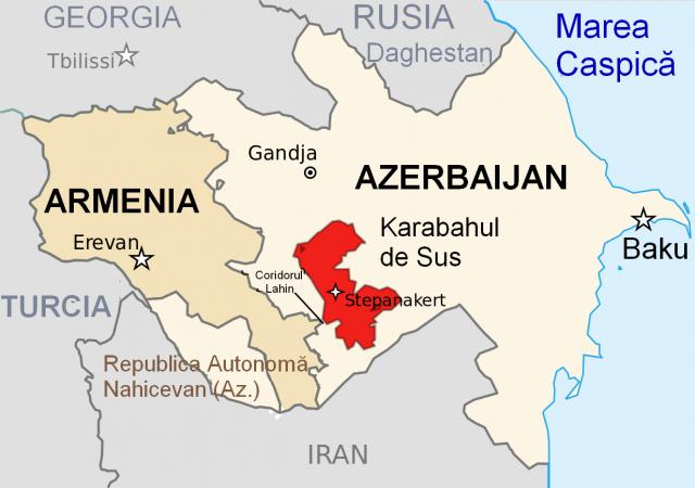 Mapa:Jermenija, Azerbedžan,Nagorno Karabah  Foto: Wikimedia