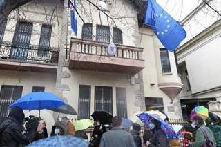 Skup podrške ispred hrvatske ambasade u Beogradu Foto :Tanjug/video