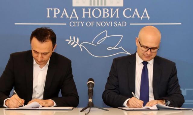 "Gradonačelnik Miloš Vučević i direktor ""Vega IT Sourcing"" Vladan Ostojić Foto: novisad.rs"