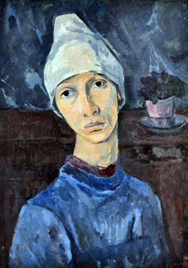 Илустрација/Љубица Цуца Сокић, Аутопортрет са белом марамом,1936–1939.